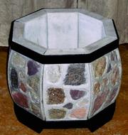 вазон уличный круглый из натурального камня