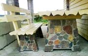 Комплект тумб для уличного стола с двумя скамейками