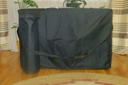 двухсекционный деревянный складной массажный стол с черной обивкой д